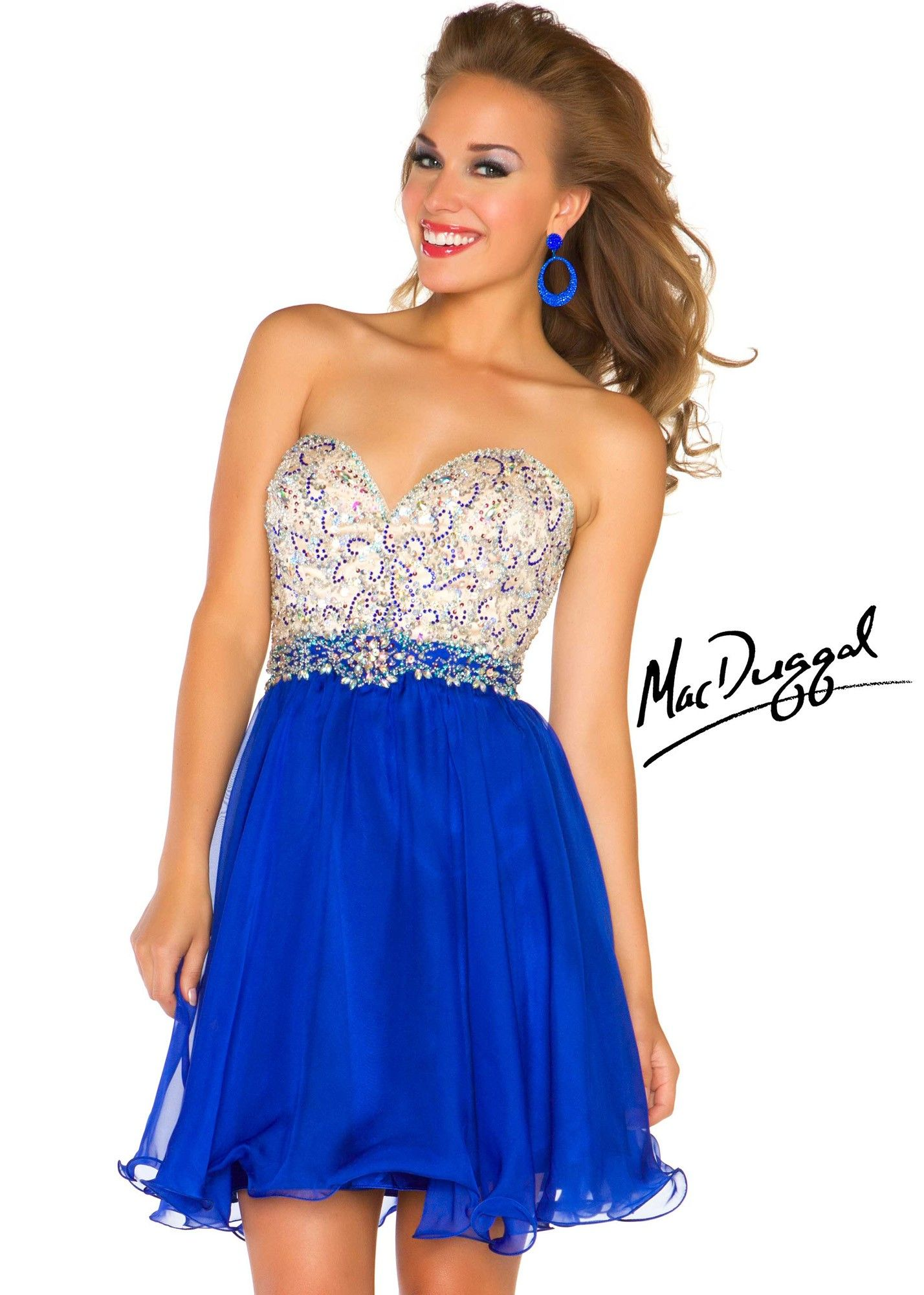 Mac duggal n sparkly short royal blue homecoming dress