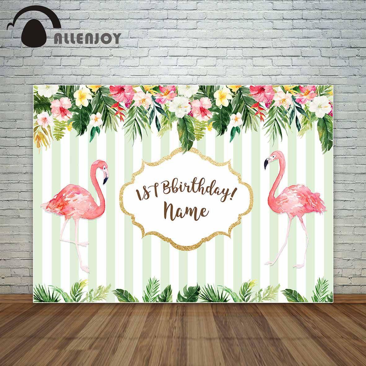 Allenjoy Birthday Custom Backdrop Flamingo Tropical Theme