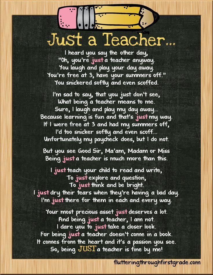 Just a Teacher Teacher poems, Teacher and Life skills - resume quick learner