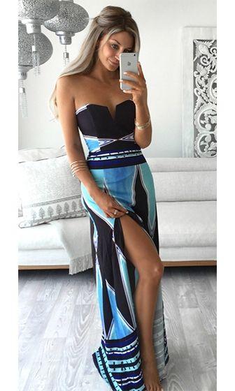 59c74a2319 Over The Moon Blue White Black Mint Tribal Geometric Strapless V Neck High  Slit Maxi Dress