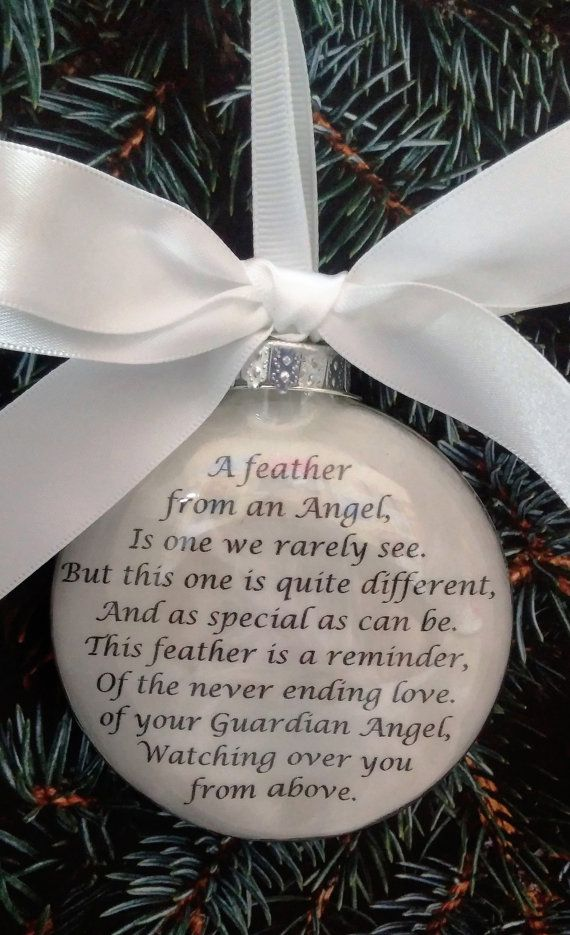 In Memory Ornament Of Loved One A Feather From A Guardian Angel
