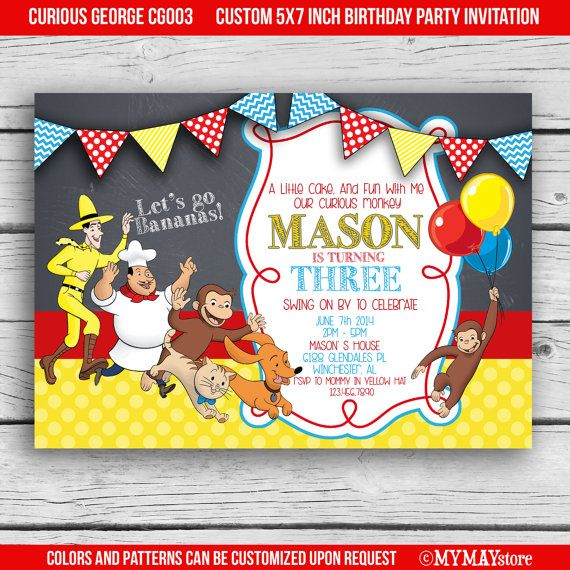 Curious George birthday party photo invitation customized free