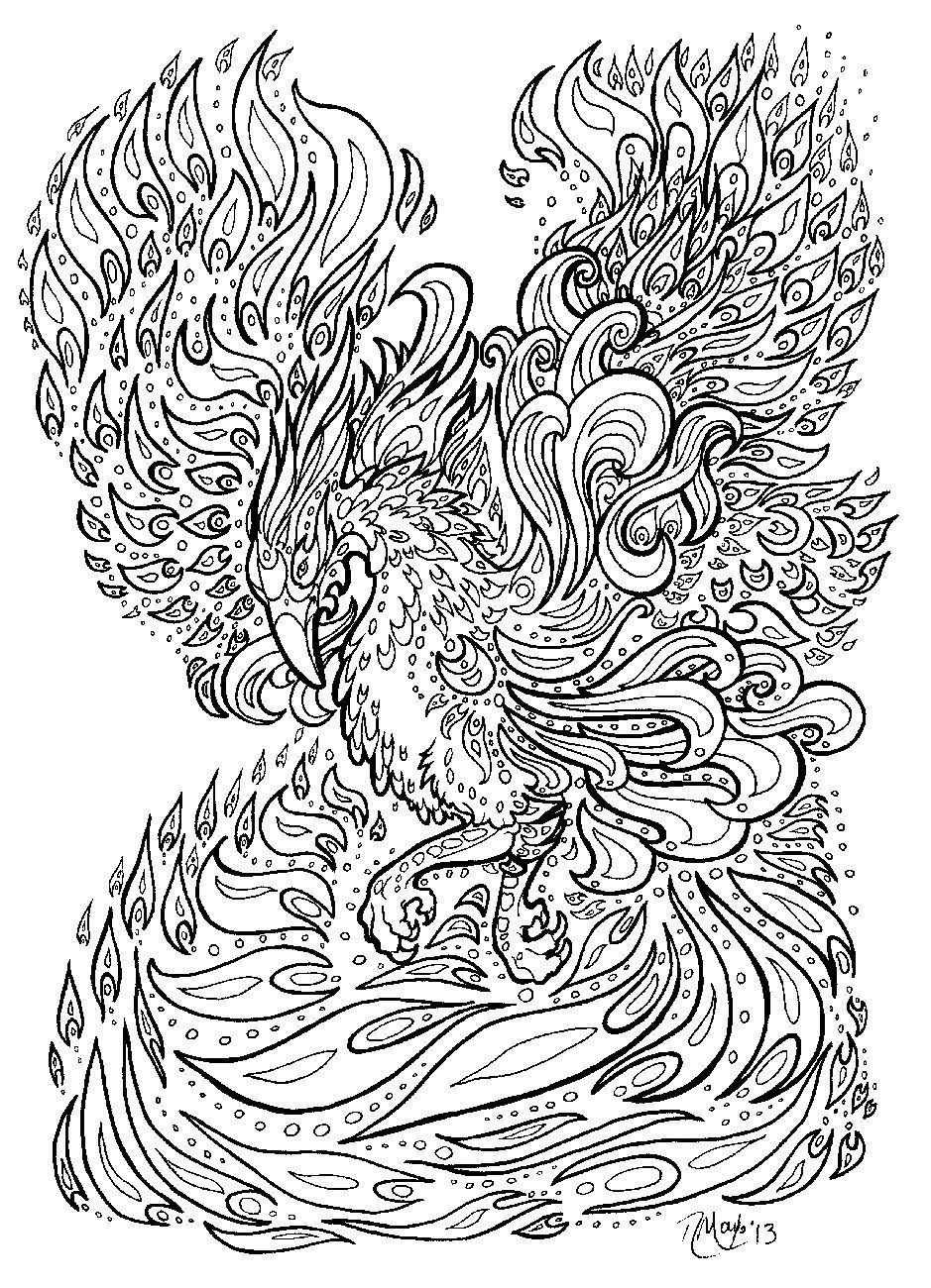 Detailed Phoenix Coloring Page - Clipart Library •
