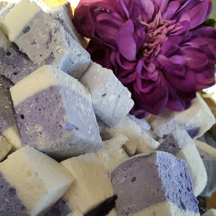 Lavender flavoured artisan Marshmallows. Great start for a spring wedding dessert table