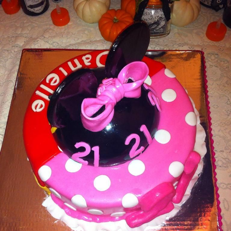 Father Daughter Mickey Minnie birthday cake 1 side Mickey 1