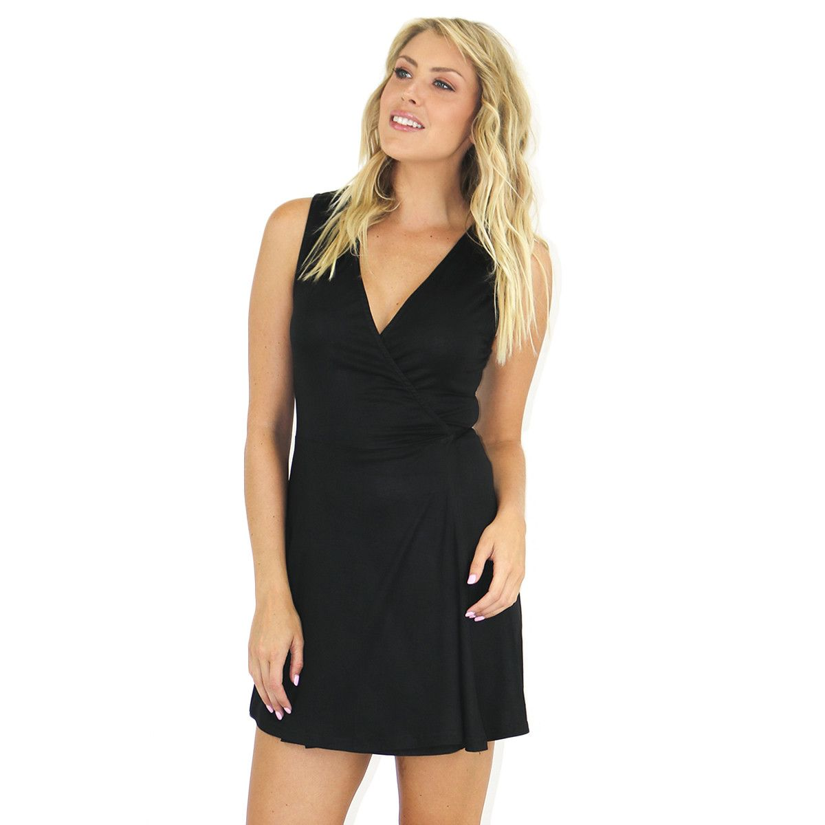 Wrap black jersey dress products