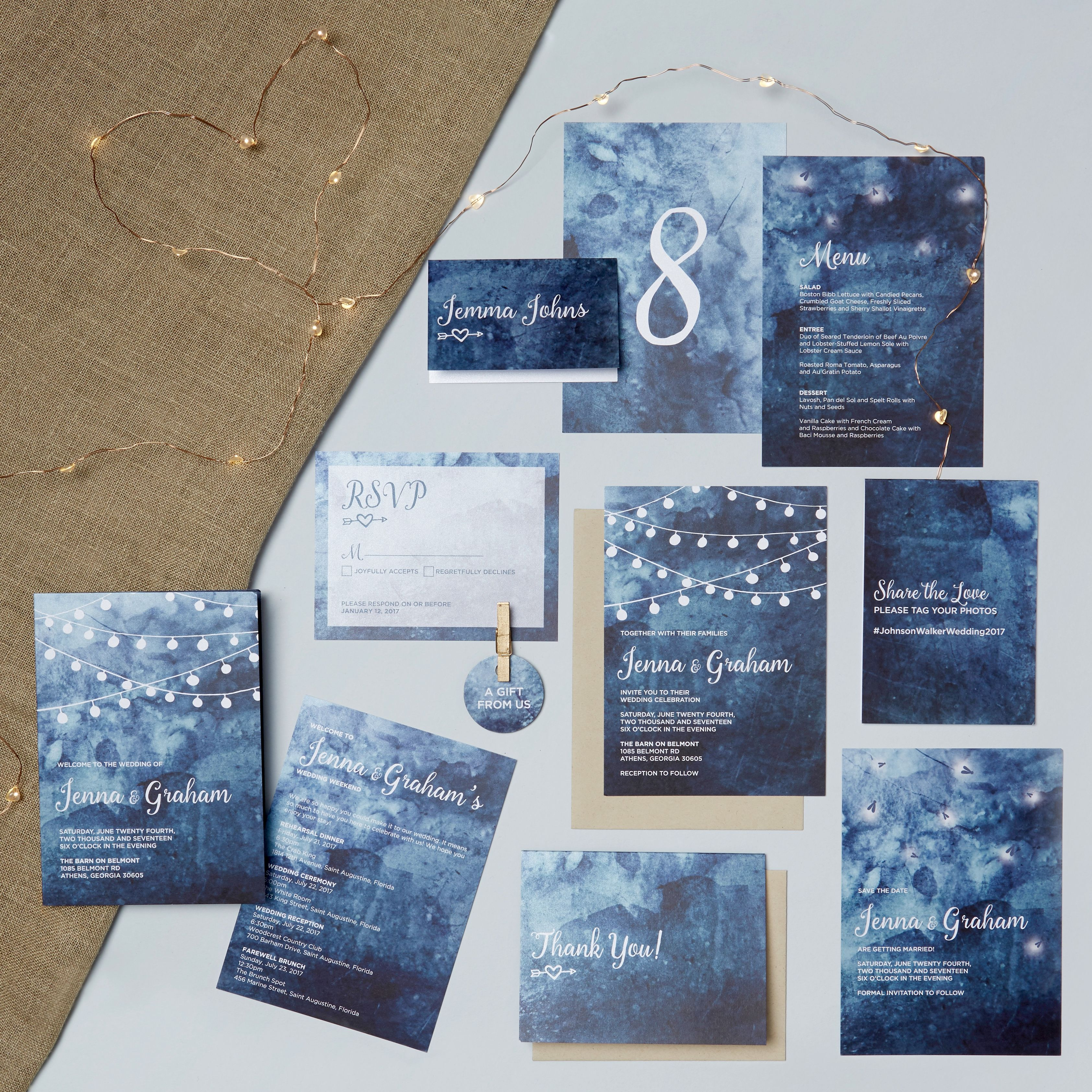 Rustic Night wedding invitation suite, blue night sky with string ...