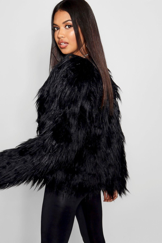 Shaggy Faux Fur Coat Boohoo In 2020 Shaggy Faux Fur Coat Black Faux Fur Coat Fur Coat