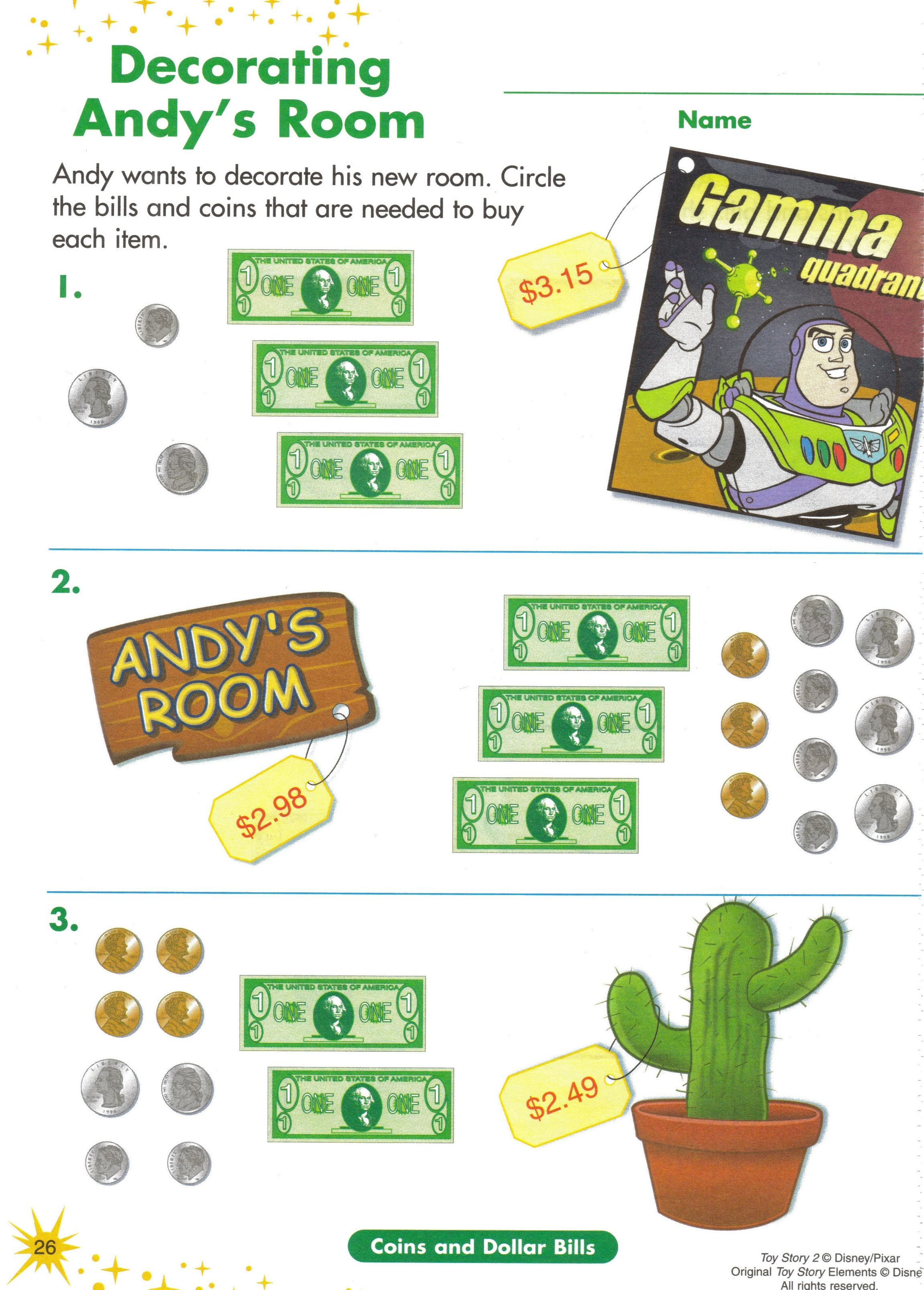 Uncategorized The Moral Of The Story Math Worksheet 10 math activity toy story money work sheet use to help visualize money