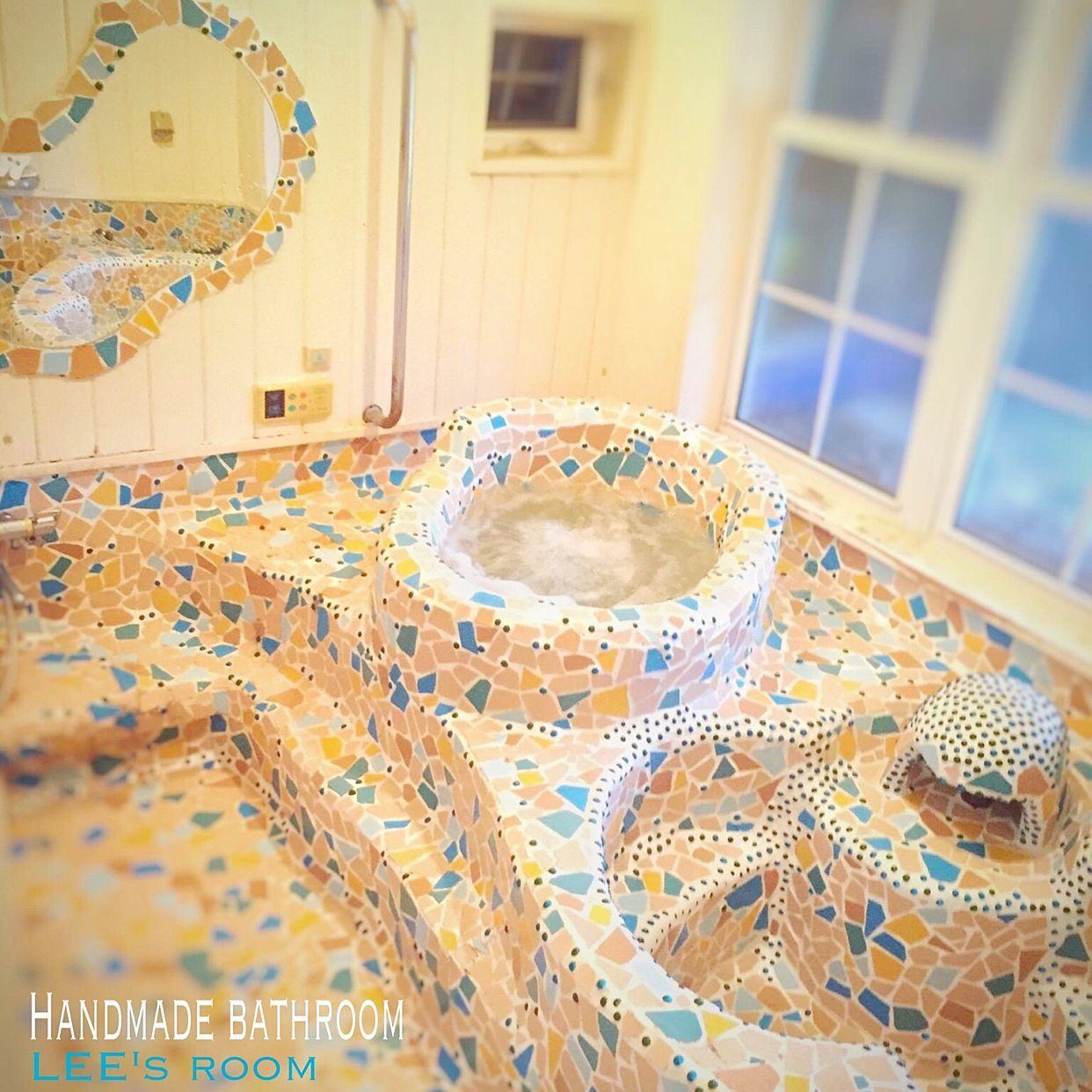 バス トイレ お風呂 モザイクタイル ガウディが好きなんです 手作り風呂 などのインテリア実例 2016 10 24 20 41 28 Roomclip ルームクリップ ガウディ モザイクタイル タイル 貼り