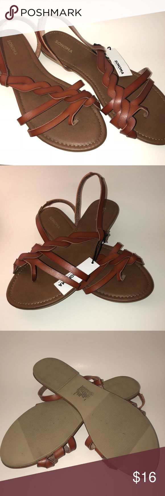 187fd253bdb89 NWT Sonoma Cognac Strappy Sandals New with tags Sonoma Sandals Cognac color  Flats Size 11 Sonoma Shoes Sandals