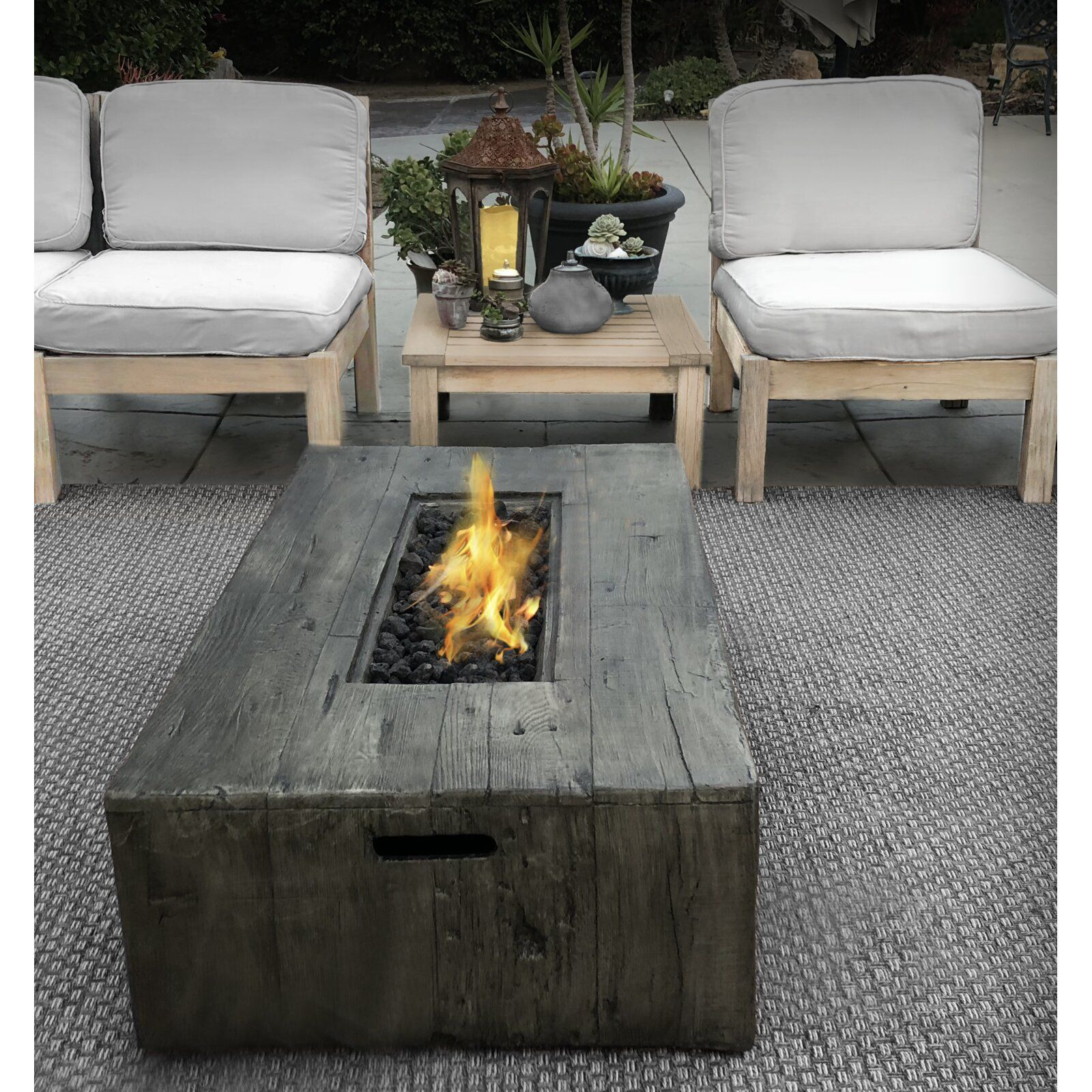 Mobley Concrete Propane Gas Fire Pit Table in 2020