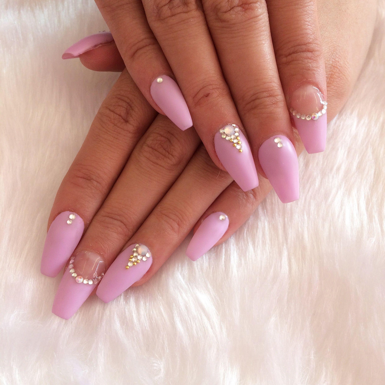 Matte mauve coffin nails with Swarovski designs   nail\'s   Pinterest ...