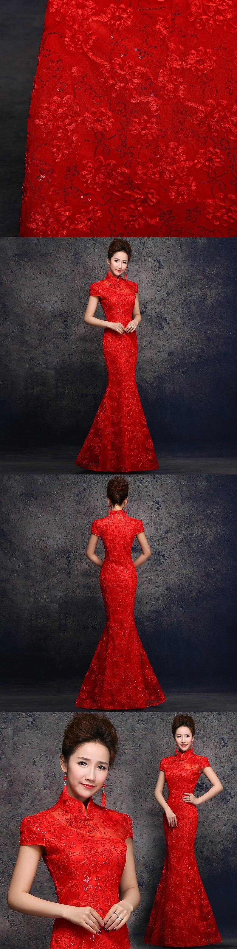 women long red lace sequins applique cheongsam evening gown dresses ...