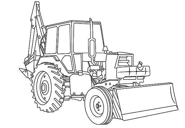 Awesome Excavator In Digger Coloring Page Tractor Coloring Pages
