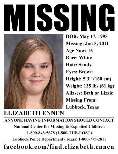 Missing Texas Girl Elizabeth Ennen Strangled | Missing found
