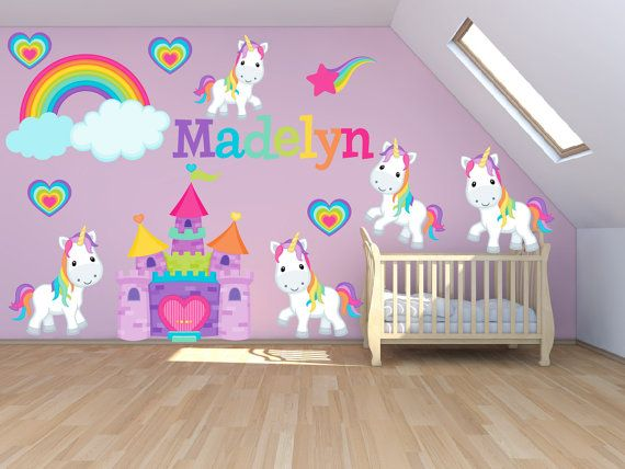 Wall decals for kids bedroom pony wall decal princess for Rainbow kids room