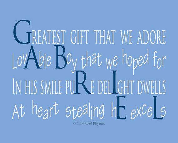 Baby gifts personalized baby boy nursery new baby boy gift nursery boys gifts 8x10 print baby name gifts gabriel by larkroadrhymes 2500 negle