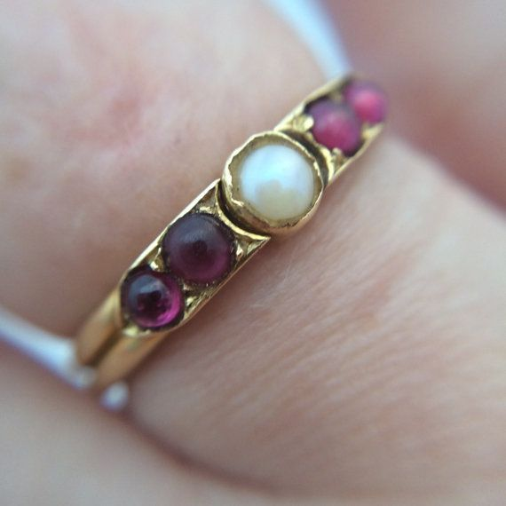 Georgian 18ct Gold Pearl and Ruby Ring by HardingandGriffin