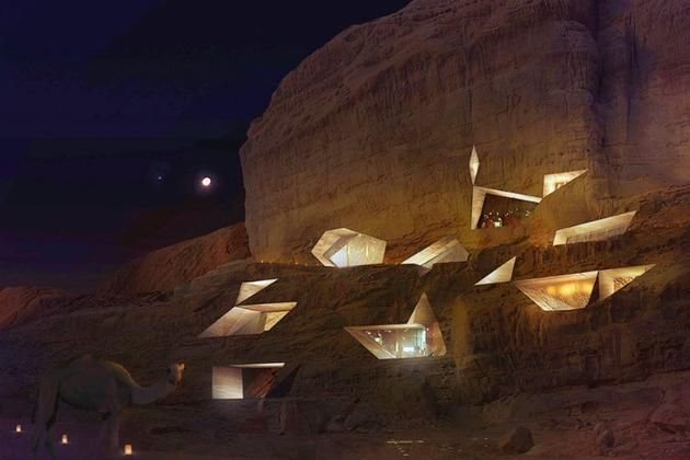 Carved right into the #desert cliffs of the Wadi Rum Desert in #Jordan, this luxury eco-lodge is designed to take full advantage of the natural #landscape. #Travellers #ecolodge