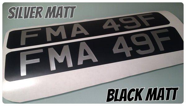 X2 Vintage Style Vespa Lambretta Number Plates In Matt Or Gloss Silver White Letters
