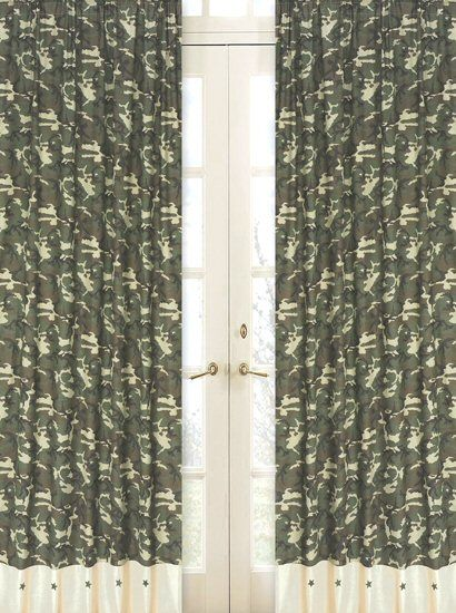 Green Army Camouflage Window Curtains Set Of 2 Drape Panels Camo Bedroom Decor Camo Curtains Rod Pocket Curtain Panels