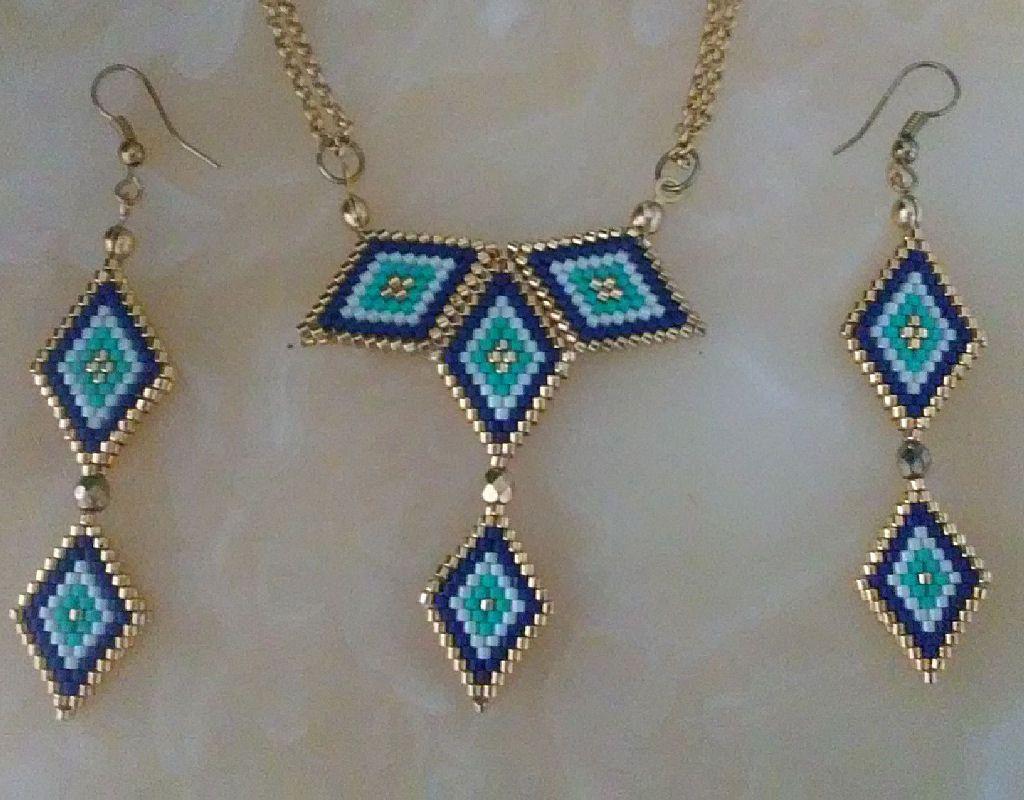 Peyote necklace-earring, beaded necklace-earring,miyuki ...