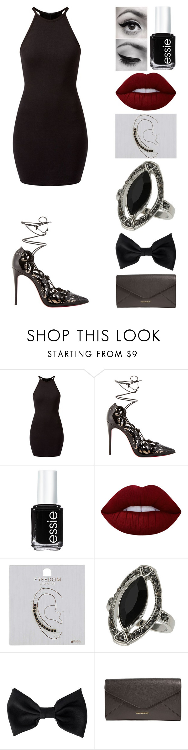 """""""Untitled #115"""" by emmmalaw ❤ liked on Polyvore featuring Christian Louboutin, Essie, Lime Crime, Topshop, American Apparel and Vera Bradley"""