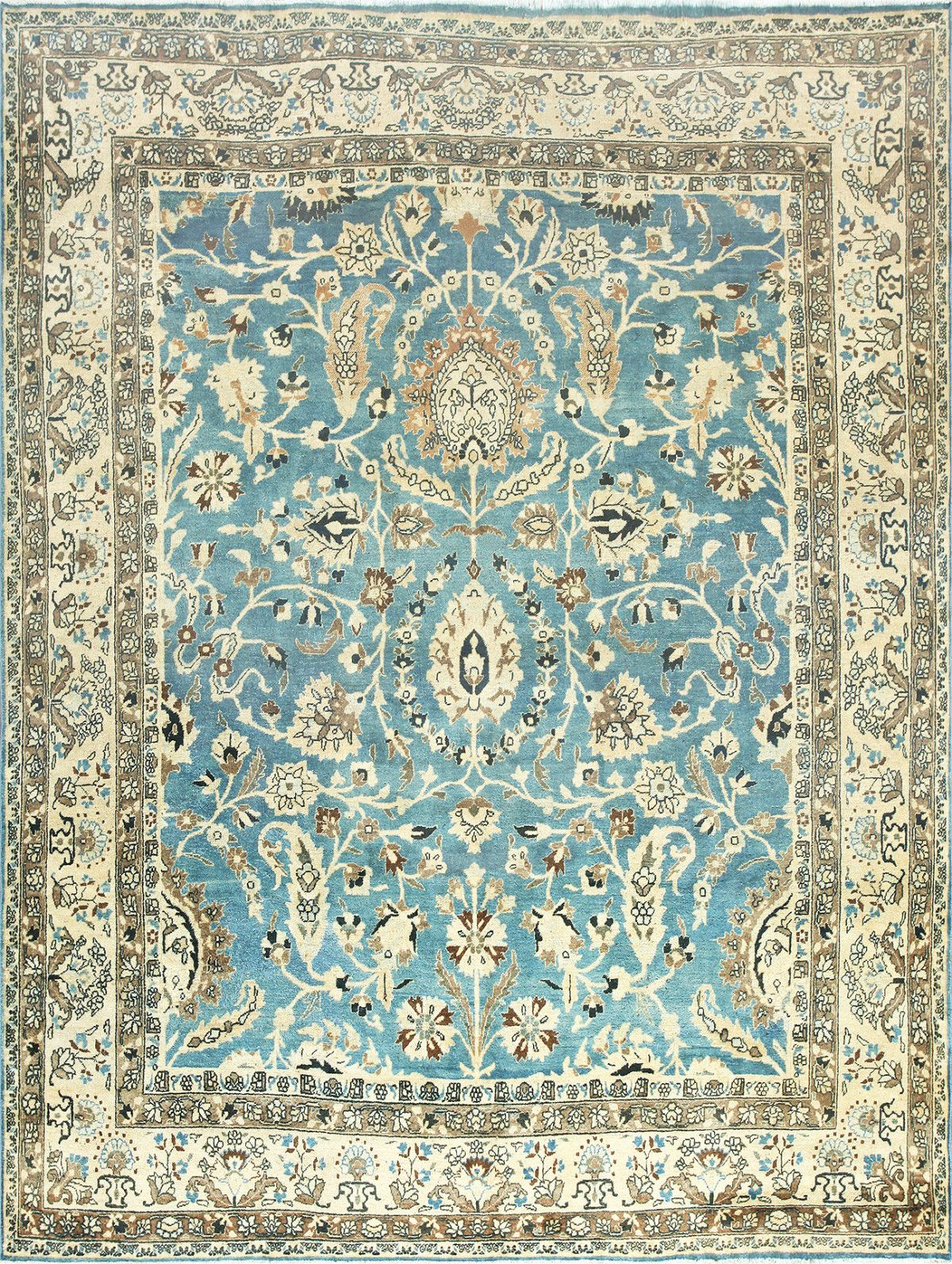 Light Blue Antique Persian Khorassan Rug 42143 By Nazmiyal