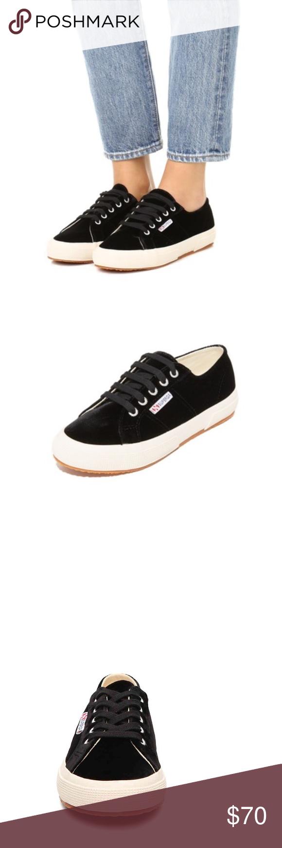 d1e1651ef6a3 JUST IN! Superga Velvet Sneakers Adorable Superga black velvet ...