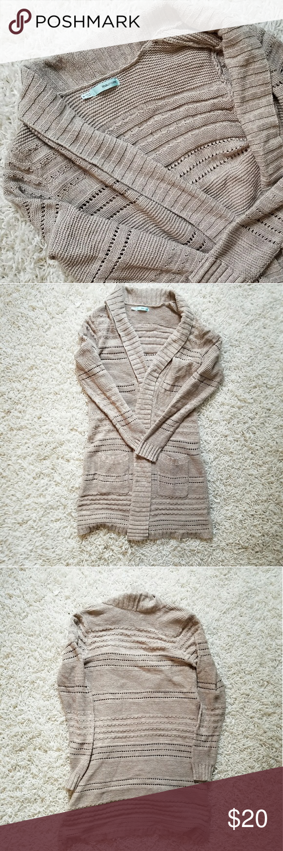 Maurice's Long Tan Chunky Knit Cardigan | Chunky knit cardigan ...