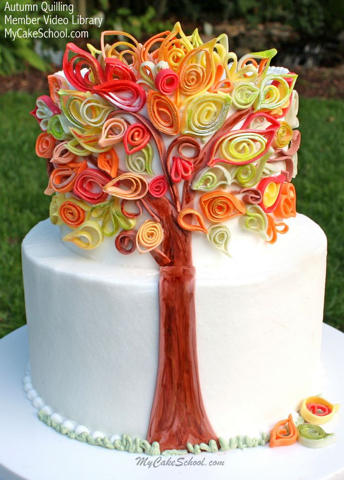 Autumn quilling in fondant cake decorating video tutorial for Autumn cake decoration