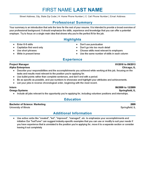 Example Resume Templates Live Career Examples Resumes Highlights