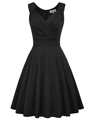 GRACE KARIN Womens 50s 60s Vintage Sleeveless VNeck Cocktail Swing Dress