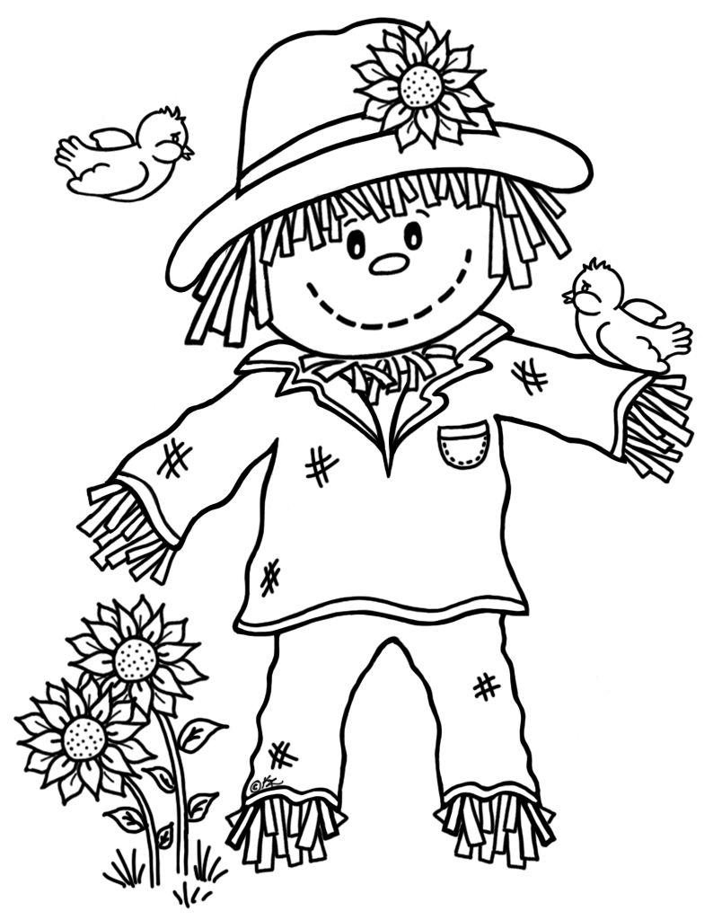 Cute Scarecrow drawing. Scarecrow coloring pages free