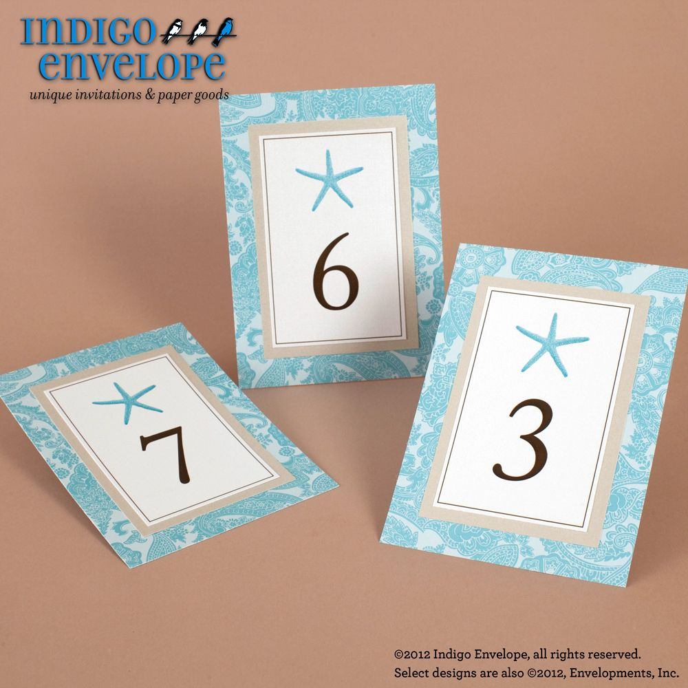 Beach Themed Table Numbers With Starfish Motifs Created By Indigo