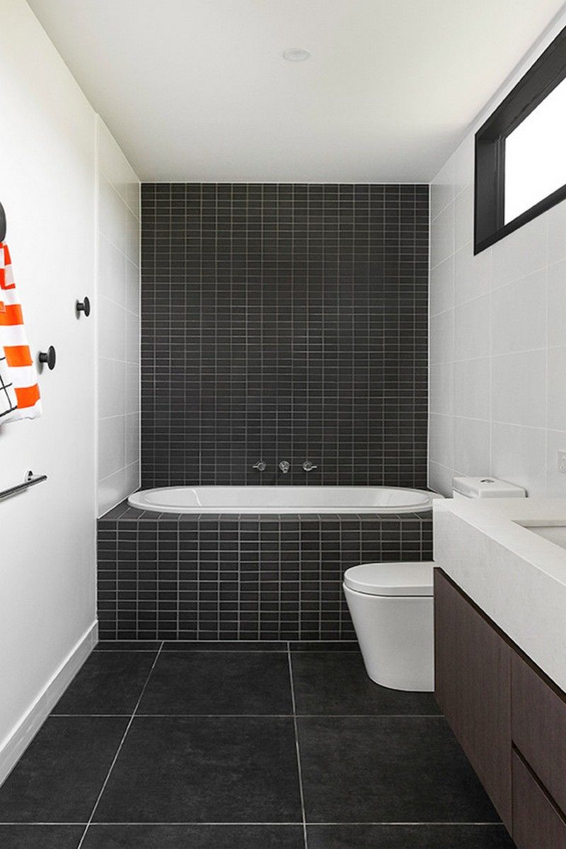 black brick tiles and white walls combo | usual house | bathroom