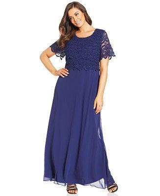 R&M Richards Plus Size Sequin Lace Tiered Bodice Gown - Plus ...