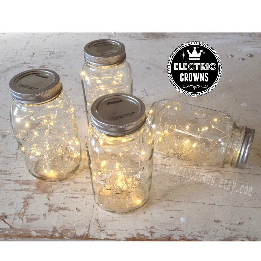 12 Mason Jar Lights Rustic Wedding Decorations Country Reception Centerpiece