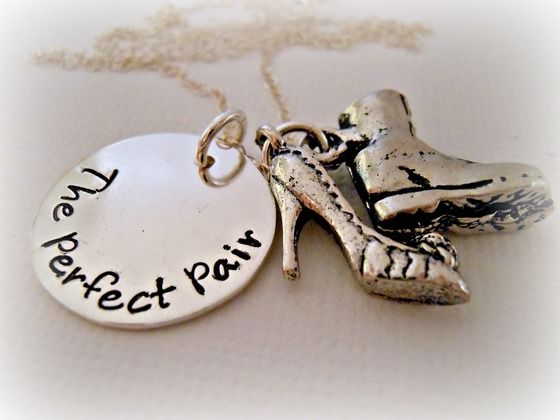 SALE The Perfect Pair Heel Boot Military Sterling Silver Hand Stamped Necklace $33.00