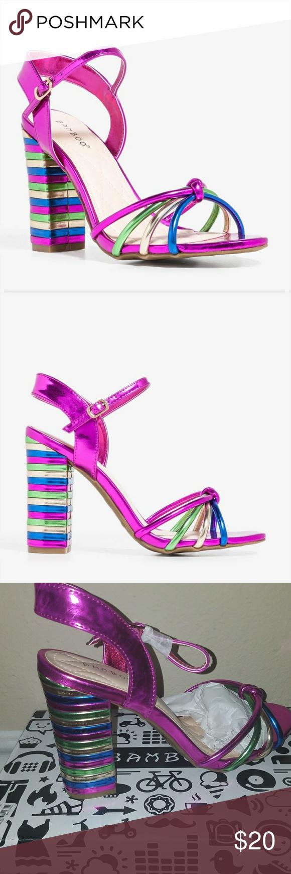 e3e0c430eb6 Bamboo Metallic Rainbow Block Heels Sandals 8 NIB Bamboo Metallic Rainbow  Block Heels Sandals