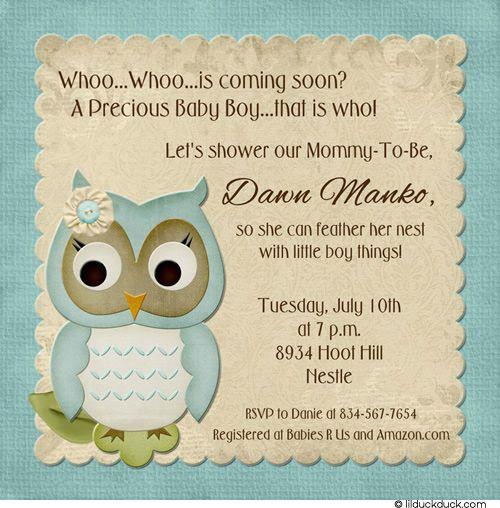 Soft Owl Boy Shower Invitation Precious Baby Guess Whoo Owl