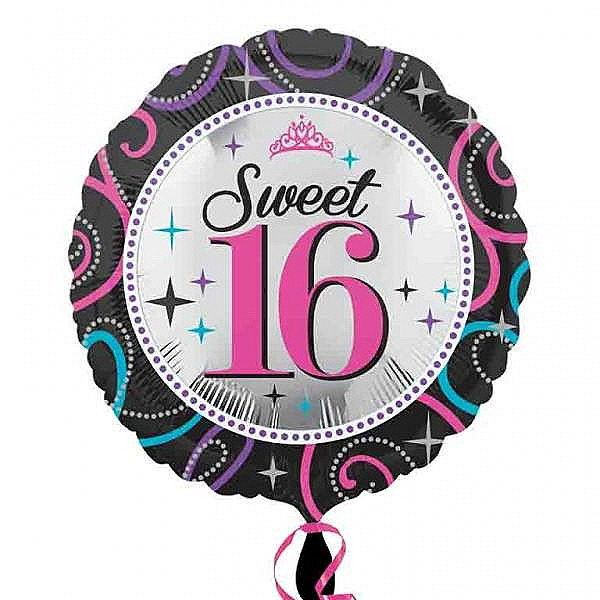 Amscan Sweet 16 Sparkle Round Foil Balloon Balloons Happy Birthday Bouquet