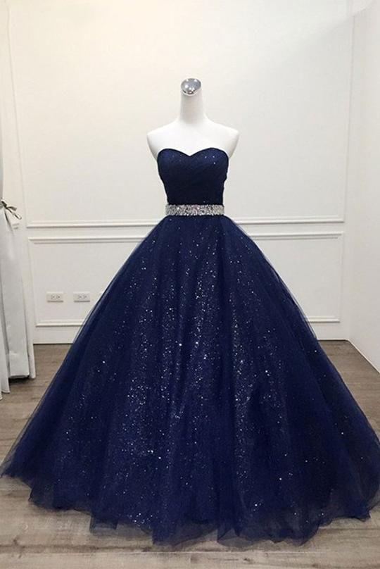 Dazzling Navy Blue Sweetheart Long Prom Dress 2019 Ball Gown Ho158 Blue Evening Dresses Prom Dresses Ball Gown Cute Prom Dresses