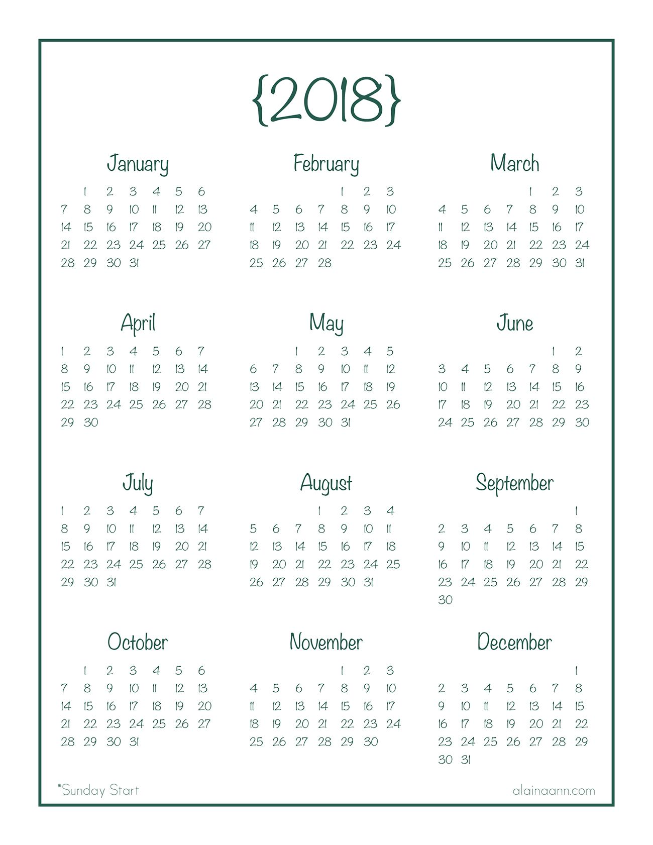 2018 year at a glance calendar free printable