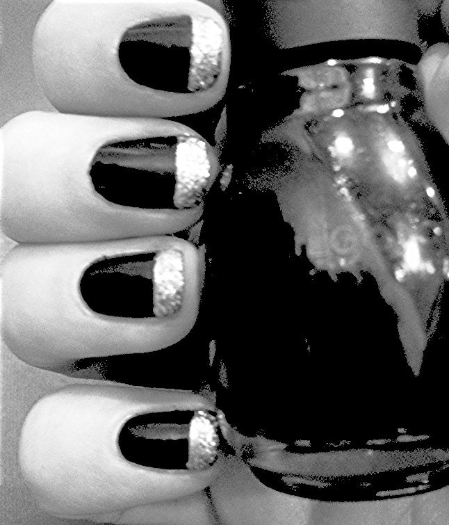 Black nails with silver glitter tip
