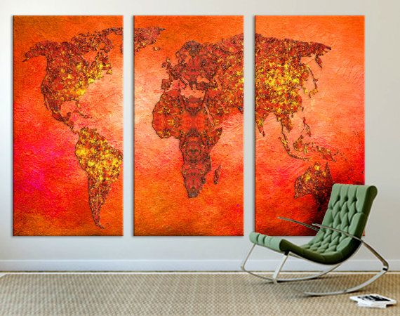 Red orange world map canvas print 3 panel split triptych wall art 3 panel split triptych red orange world map canvas print stretched on 15 gumiabroncs Image collections