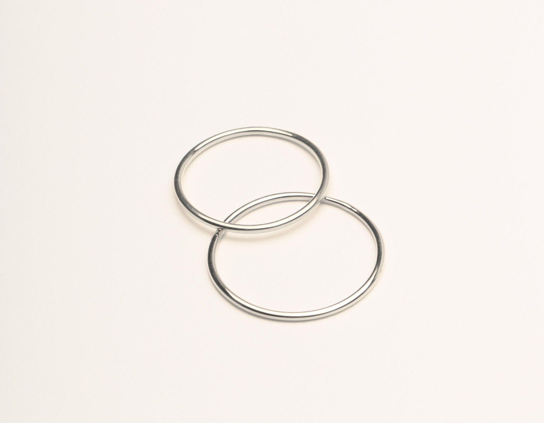 62181127e5851e Skinny Stacker Ring 14k solid gold Vrai & Oro plain round thin band, 14K  White Gold