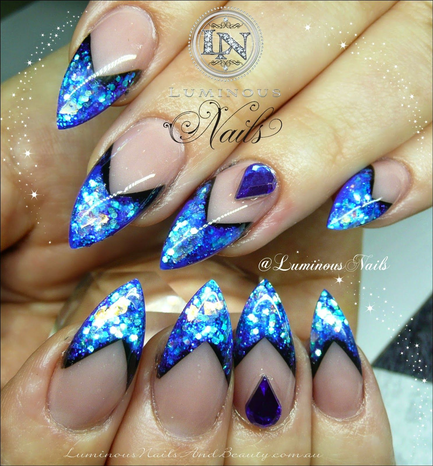 Luminous Nails: Glittery Royal Blue Nails...   Nail   Pinterest ...