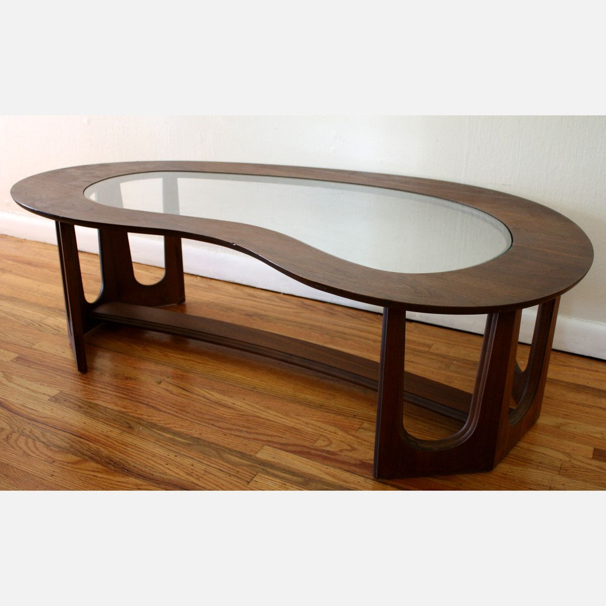 Kidney shaped coffee table by picked vintage mid century